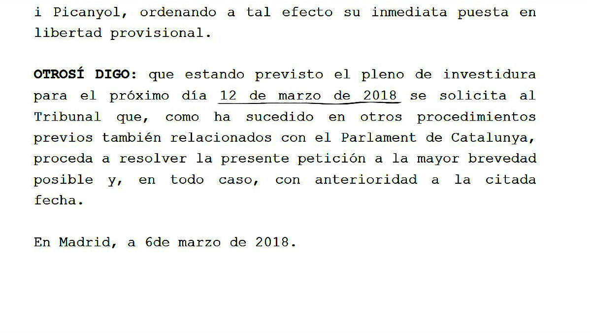 Escrito de Jordi Sànchez al Constitucional, donde anuncia la fecha del pleno de investidura.