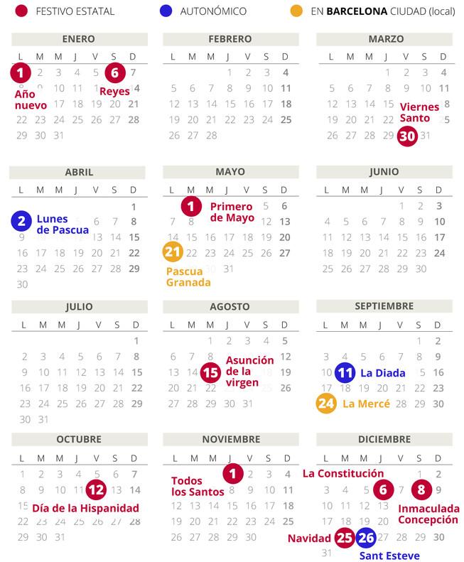 Calendario laboral de Barcelona del 2018 (con todos los ...