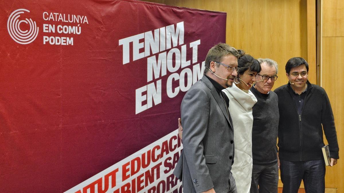 Domènech, Rodríguez, Pérez Royo y Pisarello, este miércoles.
