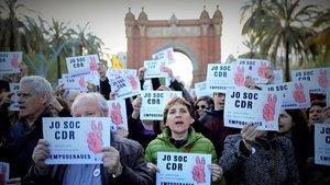 Acto de los CDR el pasado abril frente al Arc de Triomf de Barcelona.