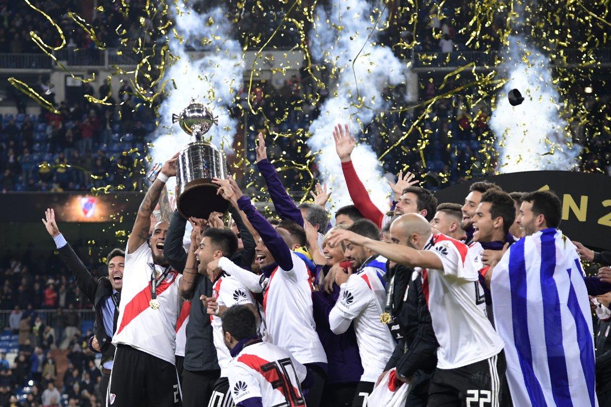 Los jugadores de River celebrando la Copa Libertadores.