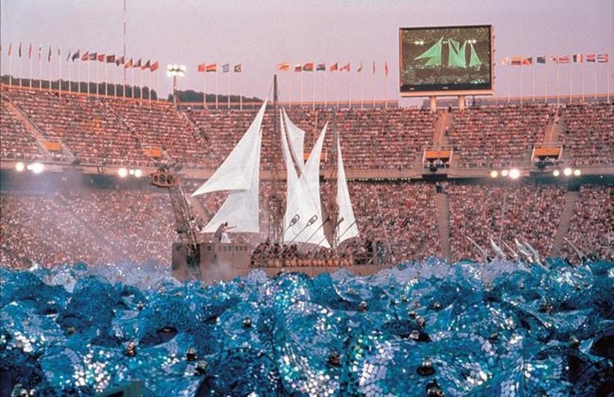 El barco que sorprendió en la actuación de la fura dels Baus en la ceremonia inaugural de Barcelona92.