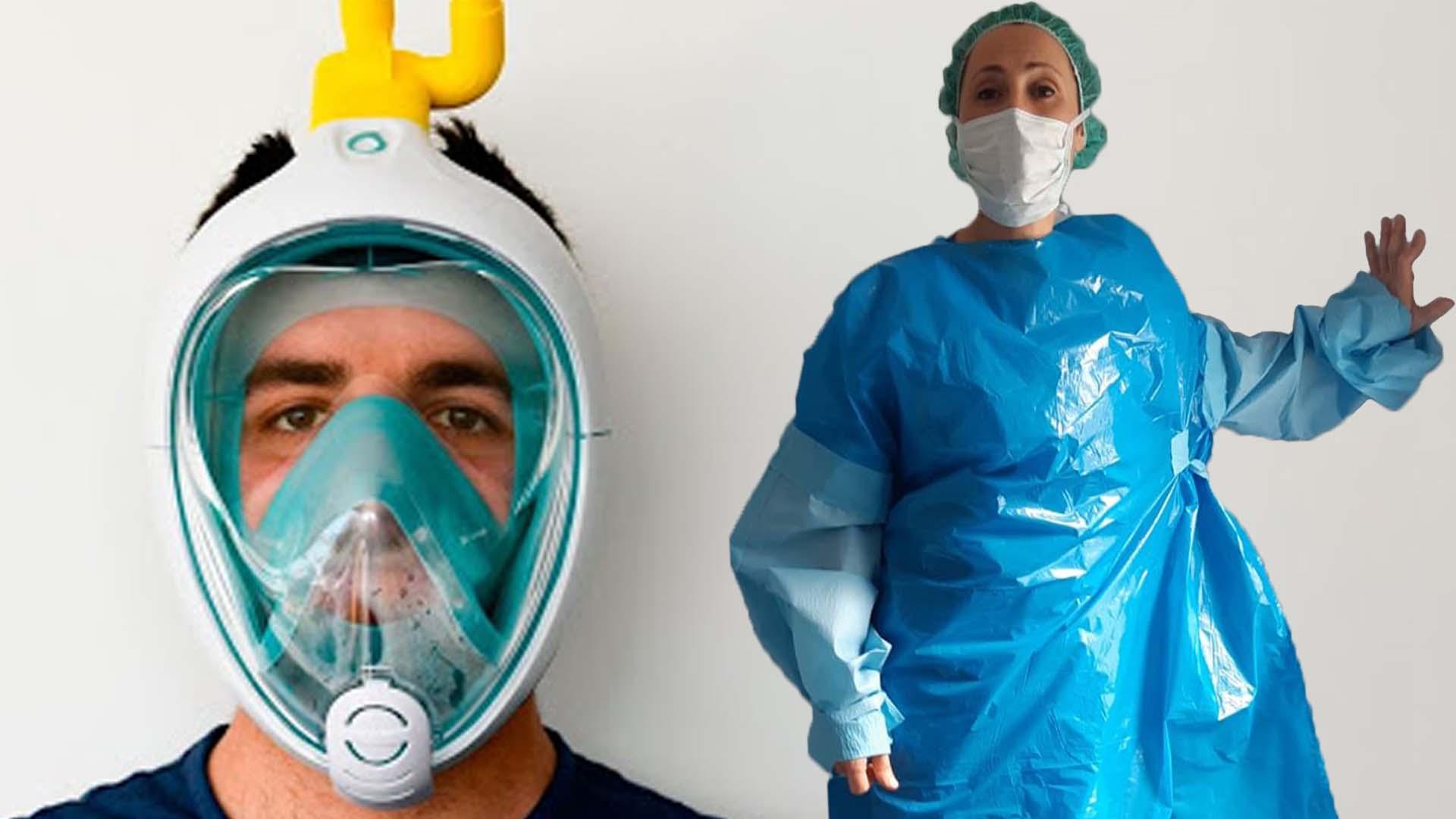 Batas improvisadas, gafas de buceo... Los sanitarios se ven obligados a hacer su propio material de protección.