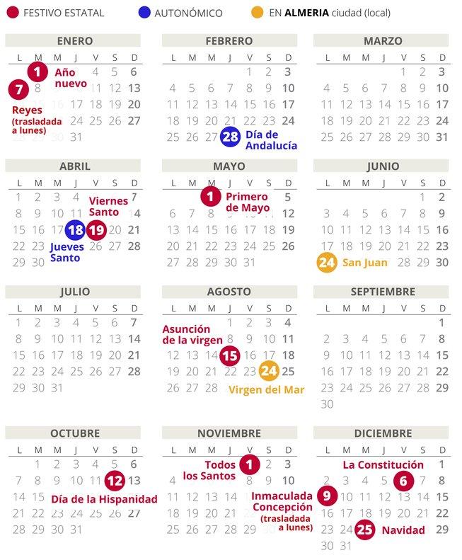 Calendario Loteria Nacional 2020.Calendario Laboral Almeria 2019 Con Todos Los Festivos