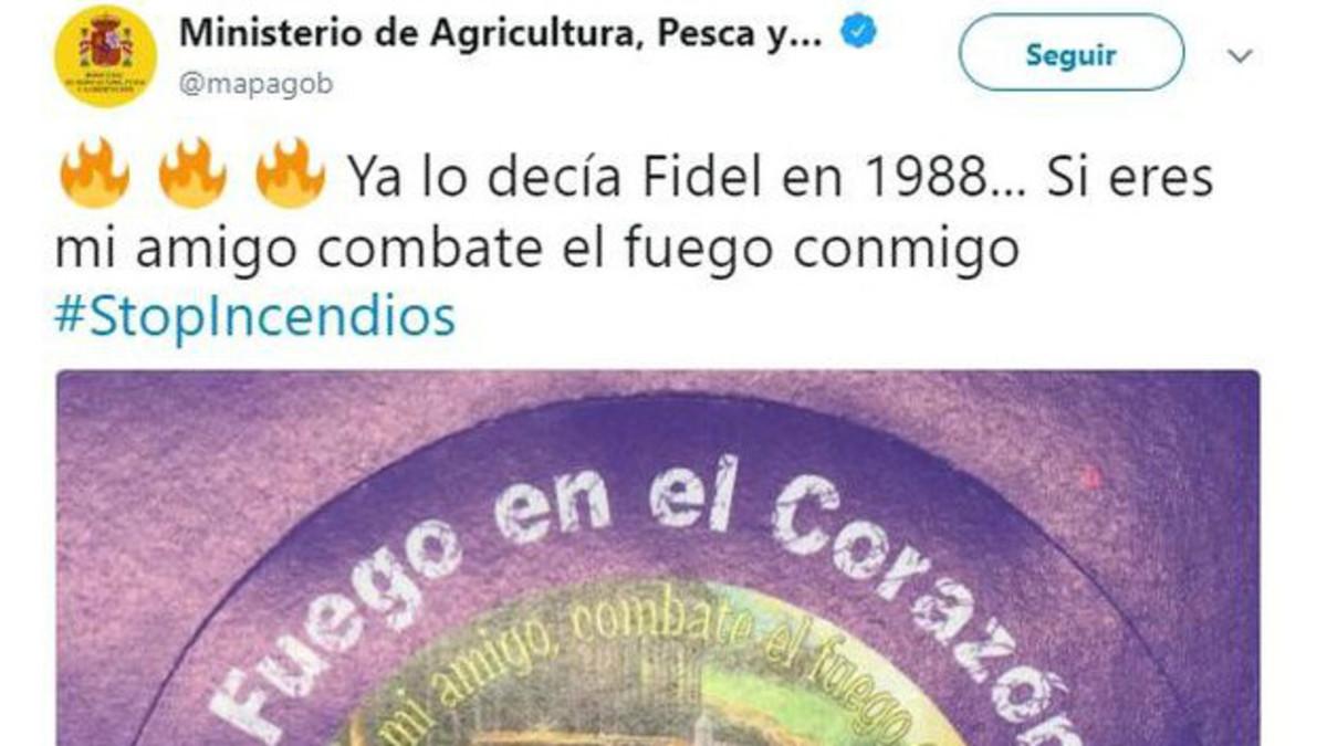 Captura del tuit del Ministerio de Agricultura, Pesca y Alimentación