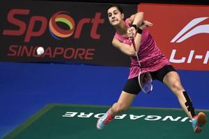 Carolina Marín, durante el partido contra la india Sindhu, el viernes.