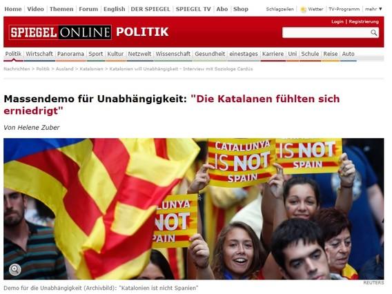 Der Spiegel realiza una entrevista al sociólogo Salvador Cardús acerca del sentimiento nacionalista catalán.