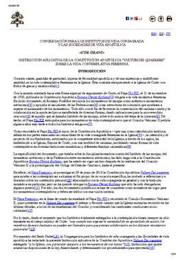 El documento Congregación para los Institutos de Vida Consagrada y las Sociedades de Vida Apostólica