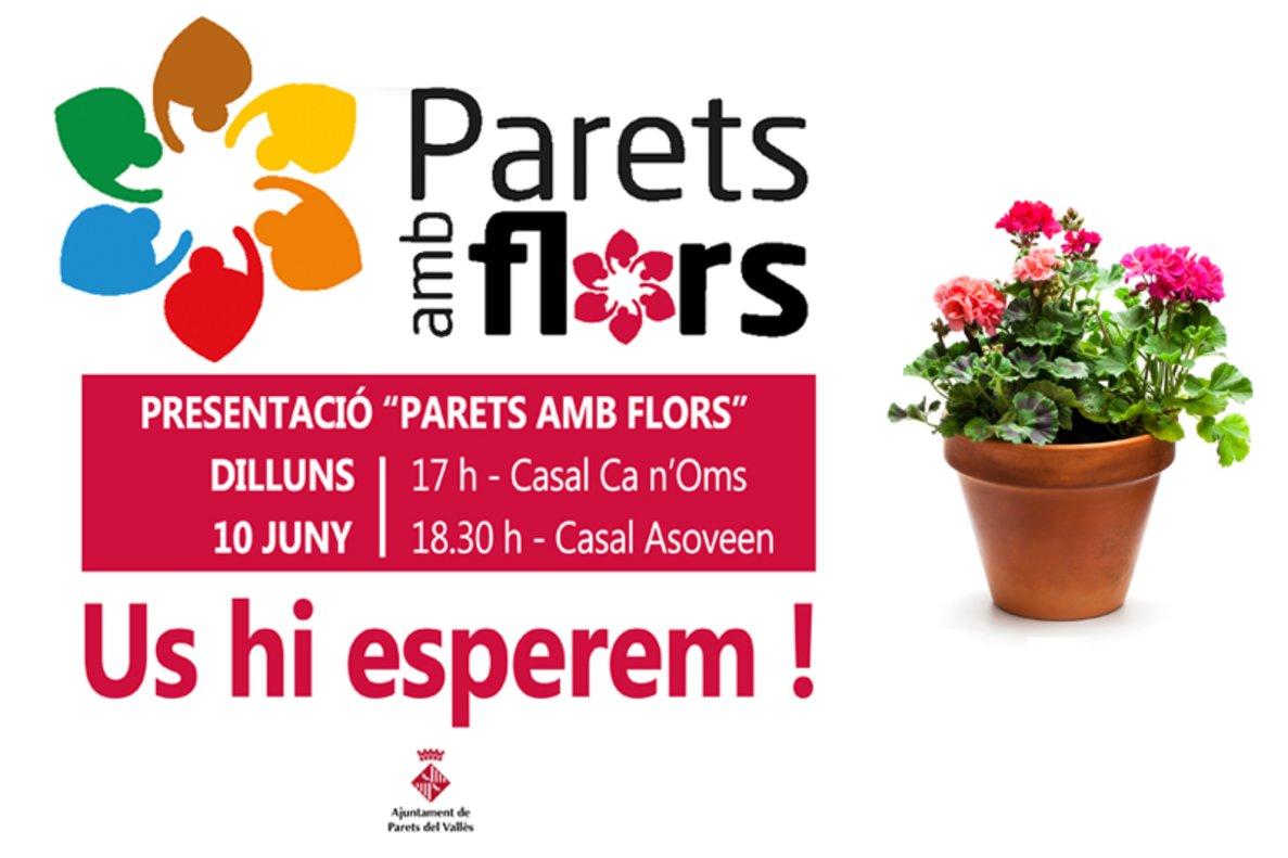 Cartel informativo del proyecto 'Parets amb flors'.