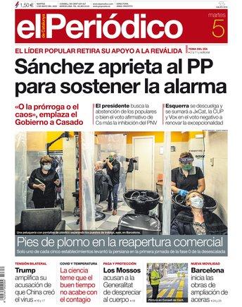 La portada d'EL PERIÓDICO del 5 de maig del 2020