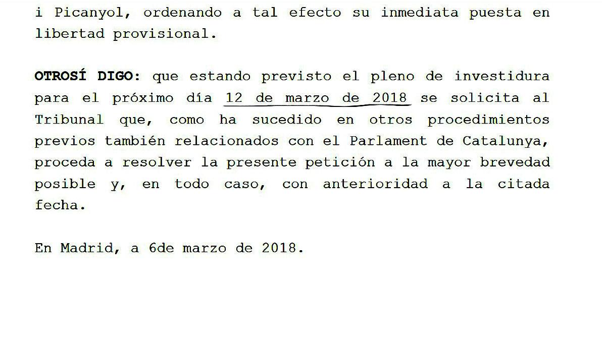 Escrito de Jordi Sànchez al Constitucional, donde revela la fecha del pleno de investidura.