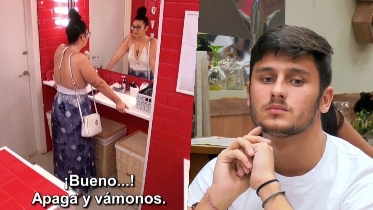 Estela hablando con su madre mientras Miguel espera en 'First Dates'.