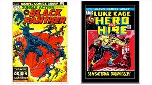Tebeos estadounidenses de Black Panther y Luke Cage.