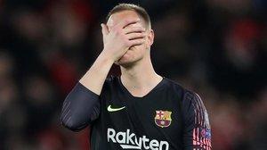 La imagen de Ter Stegen refleja lo que fue el desastre de Liverpool.