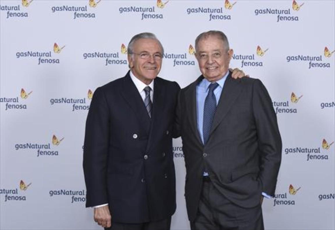 Isidre Fainé y Salvador Gabarró, durante el acto de relevo en Gas Natural Fenosa.