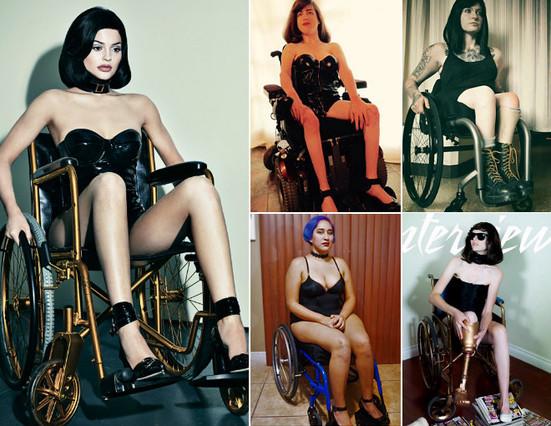 A la izquierda, la imagen de Kylie Jenner para Interview, seguida de algunas de las mujeres discapacitadas que han protestado por el posado.
