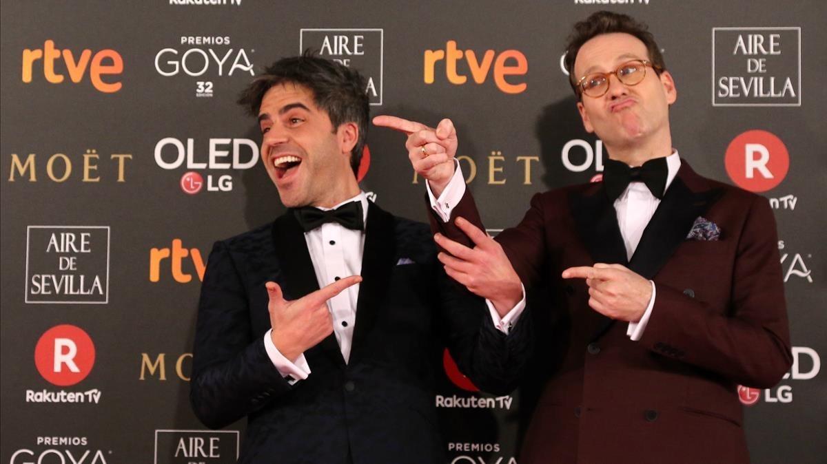 Ernesto Sevilla y Joaquín Reyes, poco antes de la gala de los Goya.