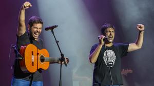 Jose (izquierda) y David Muñuz, los Estopa, este domingo, en Cap Roig.