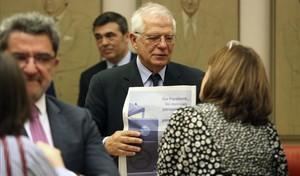 Josep Borrell, tras comparecer en el Congreso de los Diputados.
