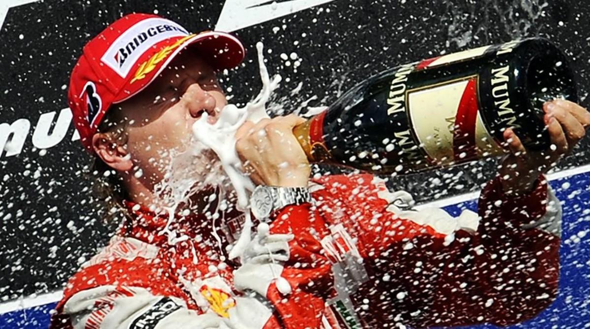 Kimi Raikkonen, en uno de sus muchos podios en la F-1.