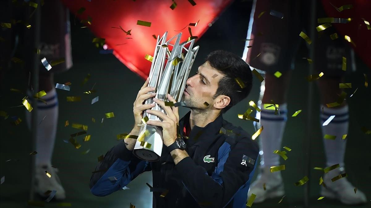 Novak Djokovic, tras ganar el Master de Shanghai.