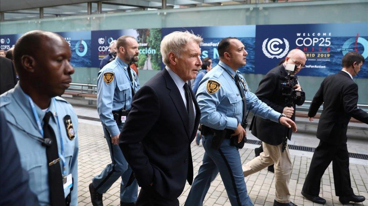 Harrison Ford llega a la Cumbre del Clima Cop25, el pasado martes, en Madrid.