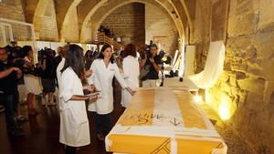 Las primeras piezas procedentes del Museu de Lleida llegadas al monasterio de Sijena.