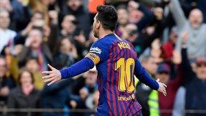 Leo Messi, después de anotar el primer gol al Espanyol.