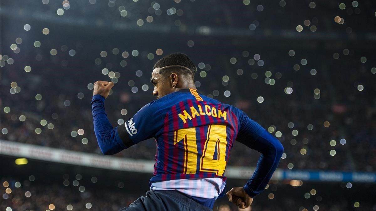 Malcom celebra el tercer gol del Barça en la Copa.