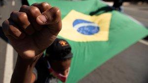 Manifestación contra Bolsonaro y el racismo, el pasado domingo en Brasilia.
