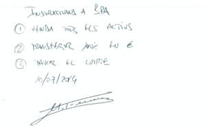 Manuscrito de Marta Ferrusola con instrucciones a la Banca Privada dAndorra (BPA).