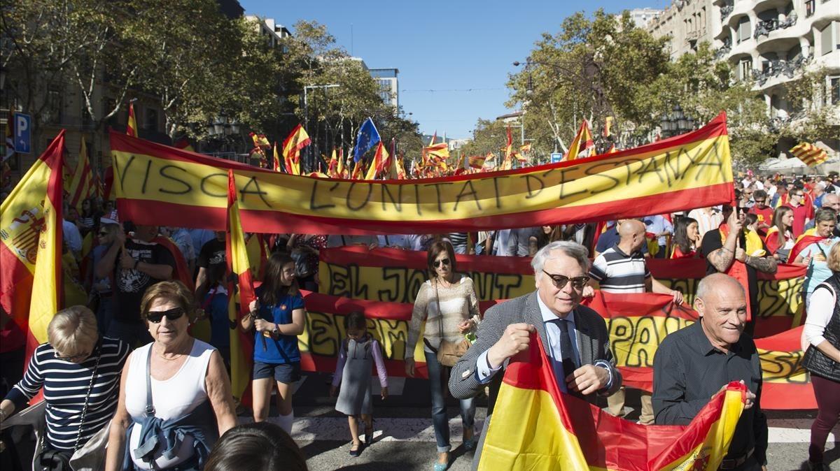 Marcha por la unidad de España de Societat Civil Catalana, el pasado 29 de octubre en Barcelona.
