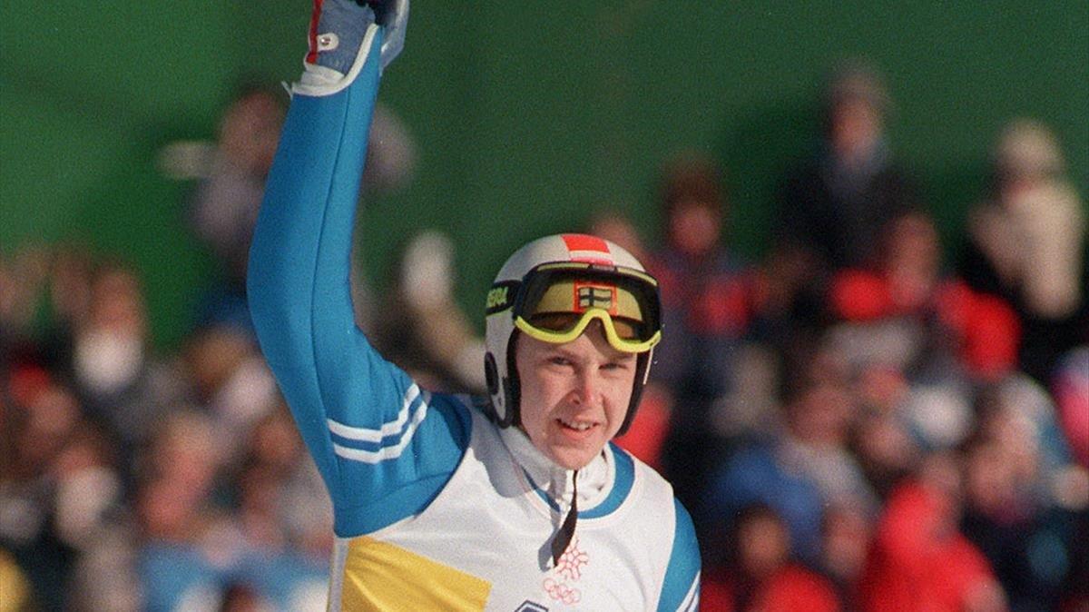 Matti Nykanen durante una competencia.