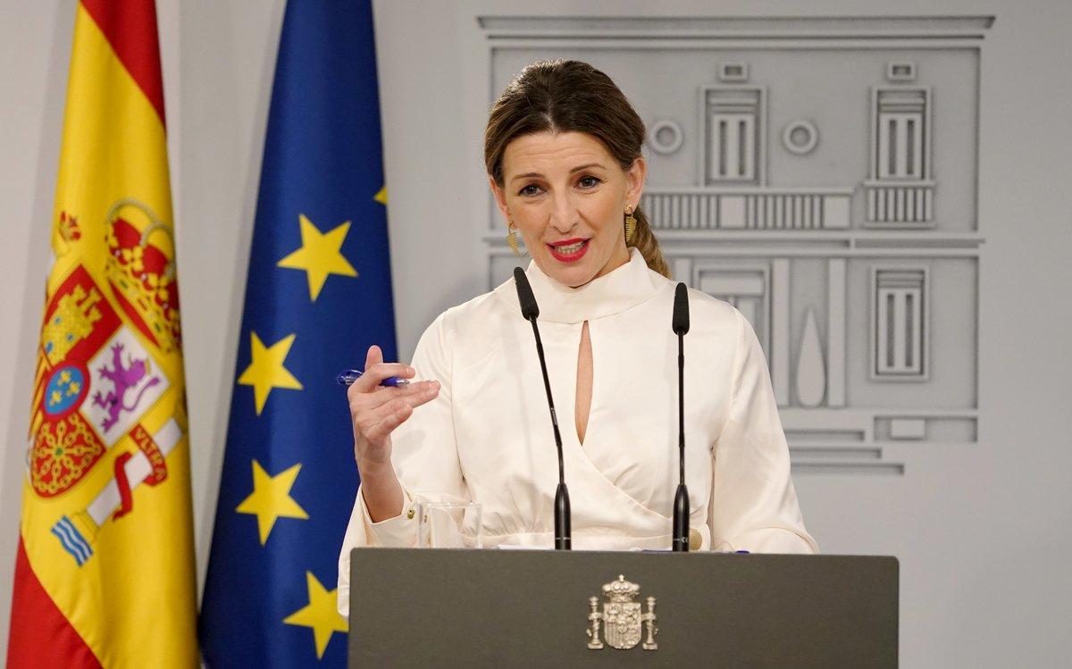 La ministra de Trabajo, Yolanda Díaz, durante una rueda de prensa.