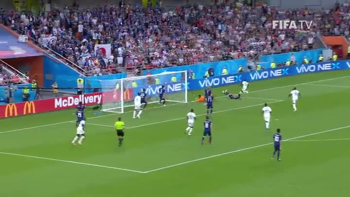 Moussa Wague marca el 1-2 ante Japón