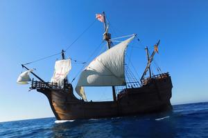La Nao Santa María es una réplica de la legendaria embarcación comandada por Cristóbal Colón.