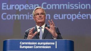 El negociador de la UE para la relación con el Reino Unido tras el'brexit',Michel Barnier, durante la rueda de pensa que ha concedido este lunes.