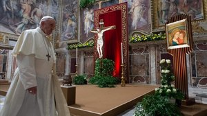 El papa Francisco, el domingo 24 de febrero, durante el cuarto día de la cumbre sobre los abusos sexuales en la Iglesia.