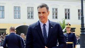 Pedro Sánchez, a su llegada a Sibiu (Rumanía) para una cumbre informal de la UE