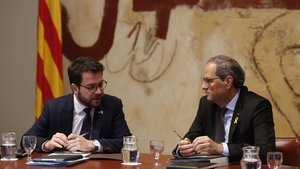 Pere Aragonès y Quim Torra, en la reunión del Consell Executiu de este martes.