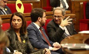 Pere Aragonés y Quim Torra, en la sesión de control del Parlament.