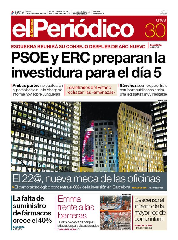 La portada de EL PERIÓDICO del 30 de diciembre del 2019.
