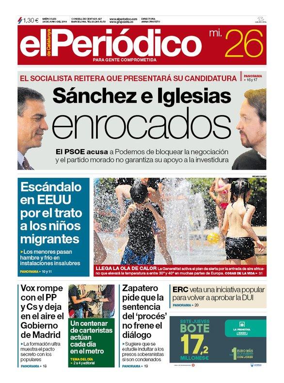 La portada de EL PERIÓDICO del 26 de junio del 2019