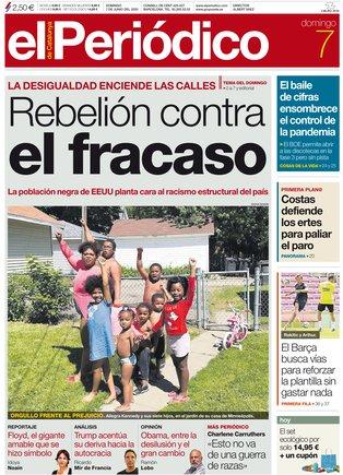 La portada de EL PERIÓDICO del 7 de junio del 2020.