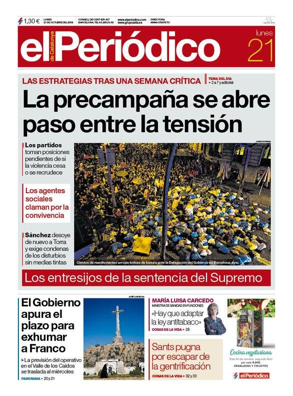 La portada de EL PERIÓDICO del 21 de octubre del 2019