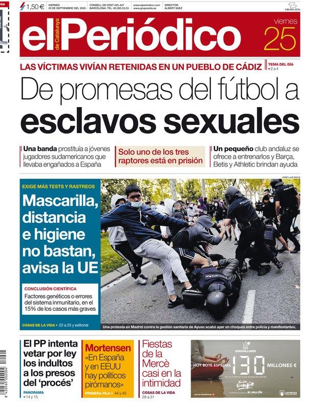 La portada de EL PERIÓDICO del 25 de septiembre del 2020