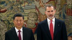 El presidente chino se reúne con Felipe VI a su llegada a España