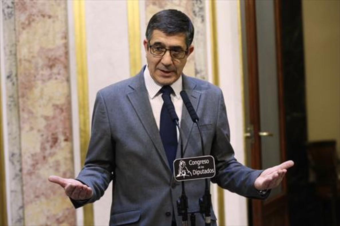 El presidente del Congreso de los Diputados, Patxi López, ayer, en rueda de prensa.