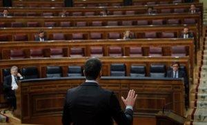 El presidente del Gobierno, Pedro Sánchez (de espaldas), interviene duranteel pleno de control al Ejecutivo,el 29 de abrilen el Congreso.
