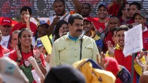 El presidente venezolano, Nicolás Maduro, durante una manifestación en Caracas el 1 de junio